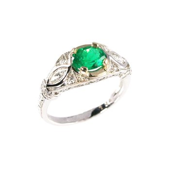 Genuine Emerald and Diamond Ring in 18k White Gold