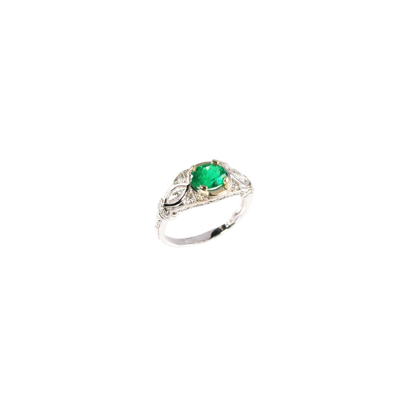 Signature Collection Genuine Emerald and Diamond Ring in 18k White Gold