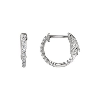 14k White Gold Inside Out Diamond Hoop Earrings - #E1/4CTW
