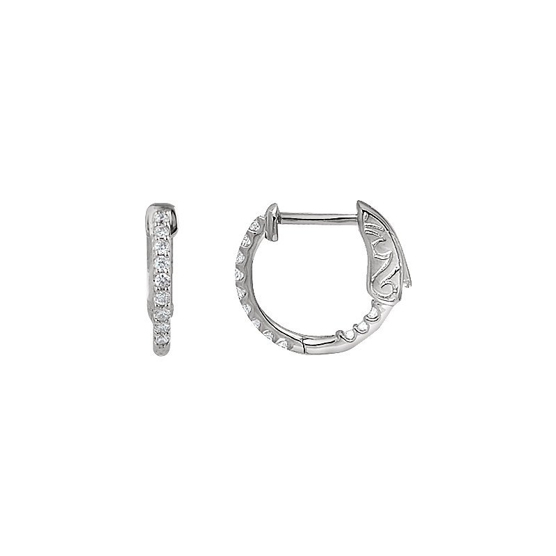 Signature Collection 14k White Gold Inside Out Diamond Hoop Earrings - #E1/4CTW