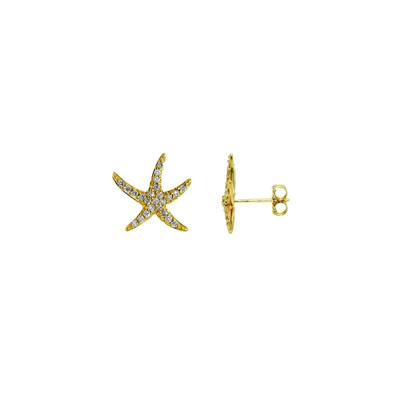 Sealife Jewelry 14k Yellow Gold Diamond Starfish Earrings