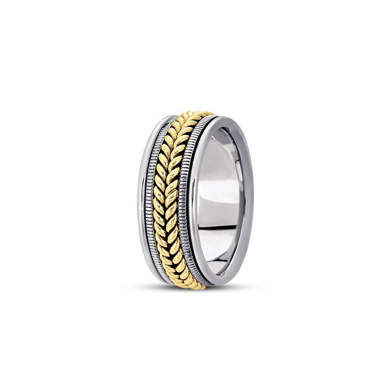Unique Settings Unique Settings HM112 - W - Y - 14k White and Yellow Gold Handmade Handwoven 9mm Men's Wedding Band