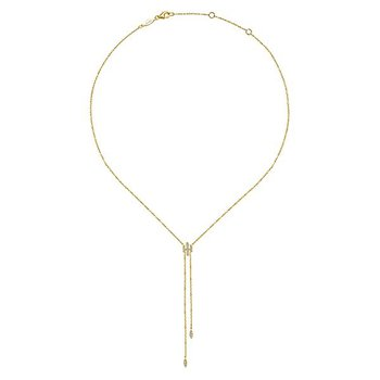 14k Yellow Gold Lariat Y Knot Necklace by Gabriel NY - Style #NK5822Y