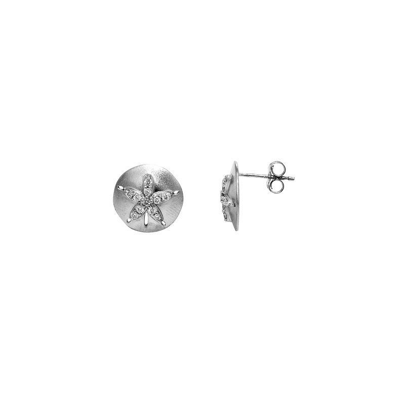 Sealife Jewelry 14k White Gold Diamond Sand Dollar Earrings