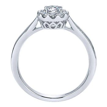 Adore Collection 14k White Gold Ritz Round Halo Engagement Ring by Gabriel NY