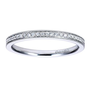 14k White Gold Vintage Style Beaded Edge Diamond Anniversary or Wedding Ring by Gabriel NY