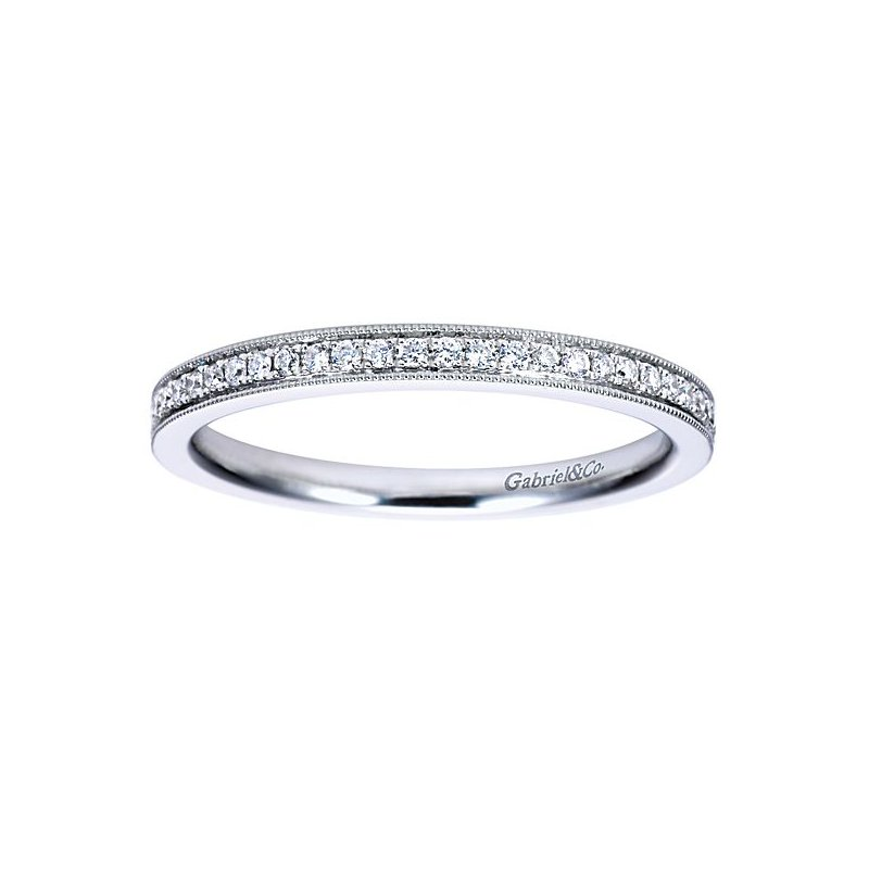 Gabriel NY 14k White Gold Vintage Style Beaded Edge Diamond Anniversary or Wedding Ring by Gabriel NY
