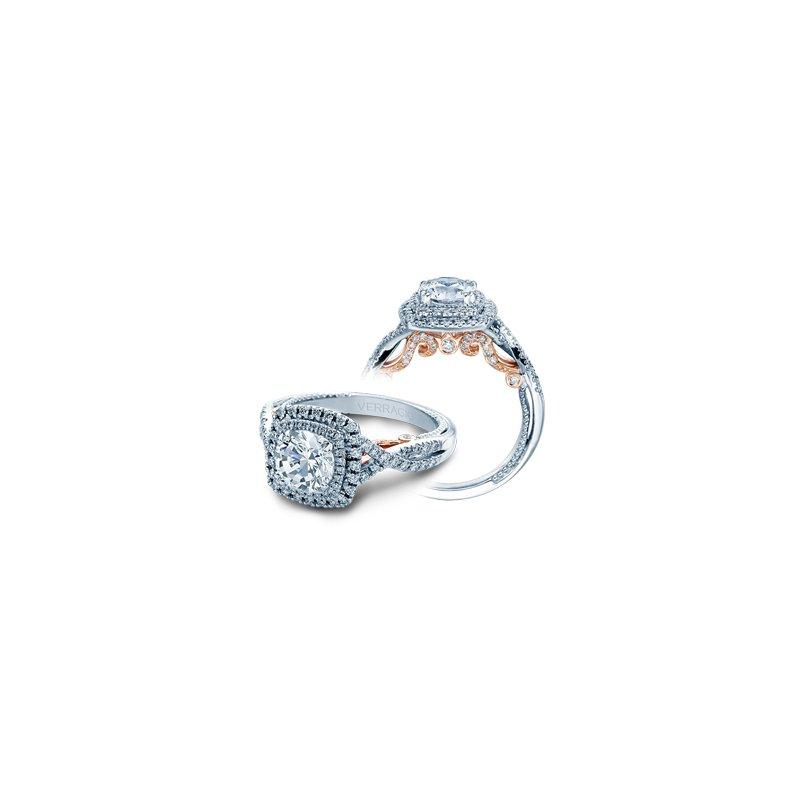 Verragio Verragio Insignia 7084CU - 2WR - 18k White and Rose Gold Cushion Halo Twist Band Engagement Ring