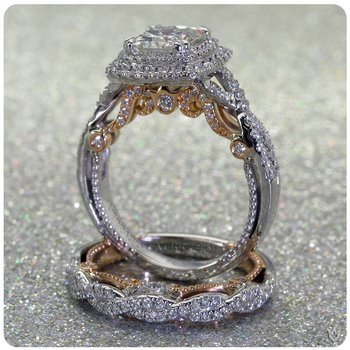 Verragio Insignia 7084CU - 2WR - 18k White and Rose Gold Cushion Halo Twist Band Engagement Ring
