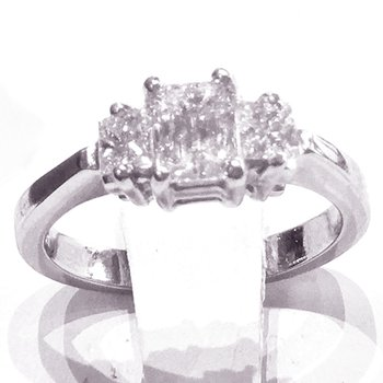 Platinum Emerald Cut Diamond 3-Stone Engagement Ring - #42462