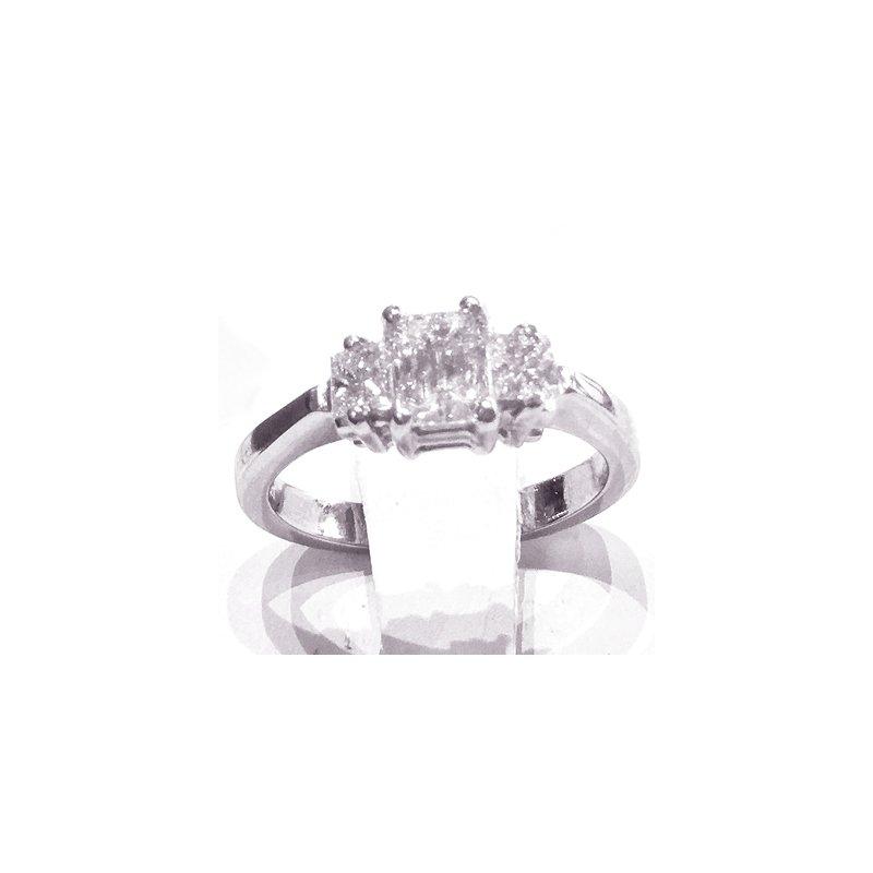 Signature Collection Platinum Emerald Cut Diamond 3-Stone Engagement Ring - #42462