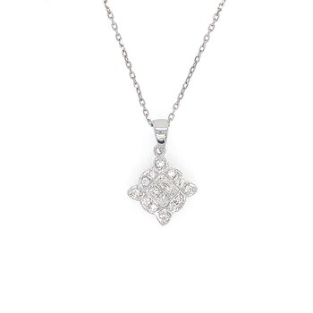 14k White Gold Vintage Inspired Diamond Pendant