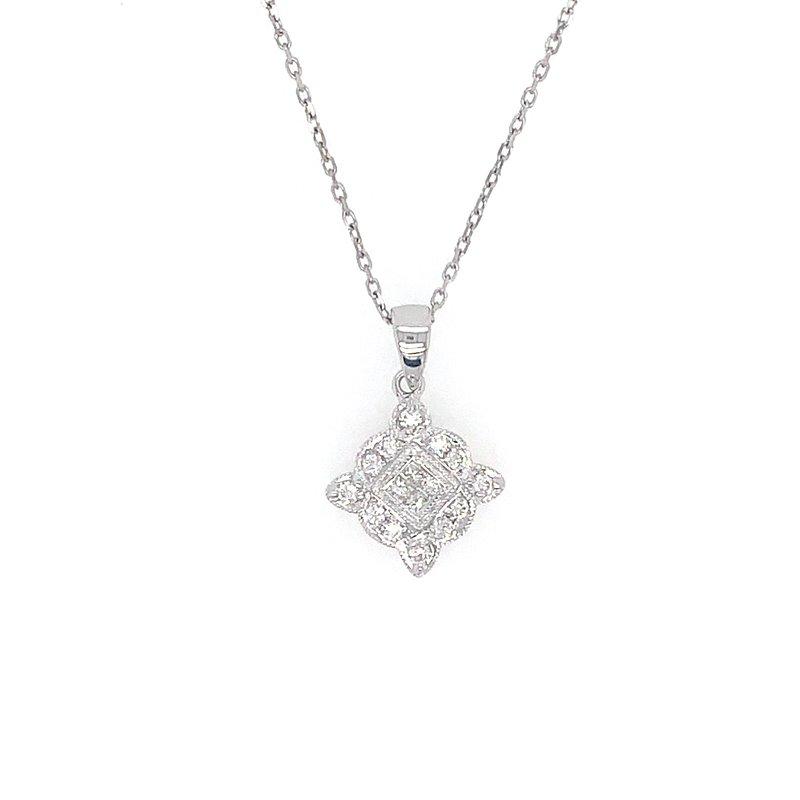 Signature Collection 14k White Gold Vintage Inspired Diamond Pendant