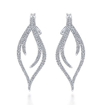 14k White Gold Sculptural Diamond Earrings by Gabriel NY