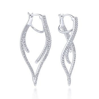 14k White Gold Sculptural Diamond Earrings by Gabriel NY