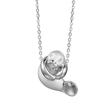 Sterling Silver Playful Manatee Pendant