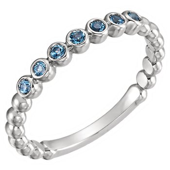 14k White Gold Genuine Aquamarine Stackable Ring
