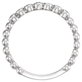 14k White Gold Genuine Aquamarine Stackable Ring