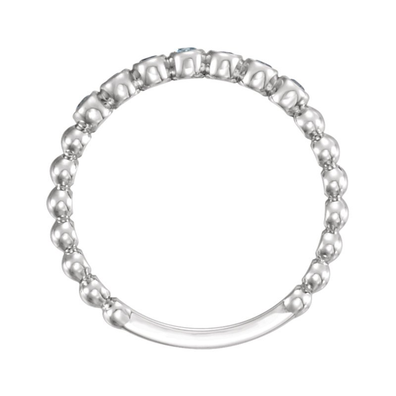Signature Collection 14k White Gold Genuine Aquamarine Stackable Ring