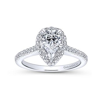 Paige 14k White Gold Pear Shaped Halo Diamond Engagement Ring by Gabriel NY