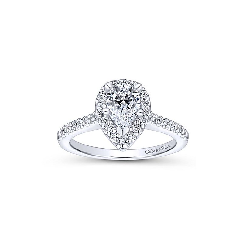 Gabriel NY Paige 14k White Gold Pear Shaped Halo Diamond Engagement Ring by Gabriel NY