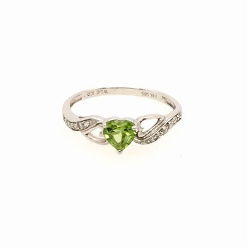 Genuine Heart Peridot and Diamond Ring in 14k White Gold