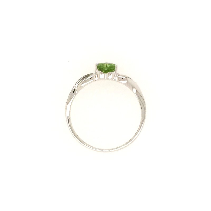 Signature Collection Genuine Heart Peridot and Diamond Ring in 14k White Gold