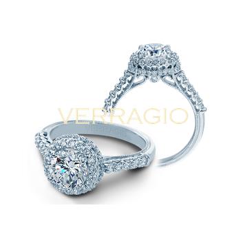 Verragio Renaissance 926 R7 - 14k White Gold Round Halo Engagement Ring