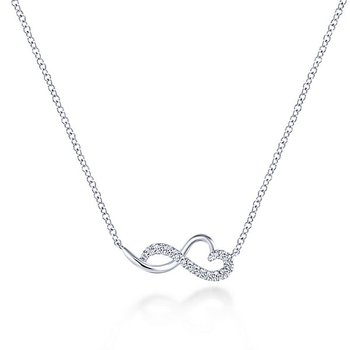 14k White Gold Sleek Diamond Heart Necklace by Gabriel NY - Style #NK5736W