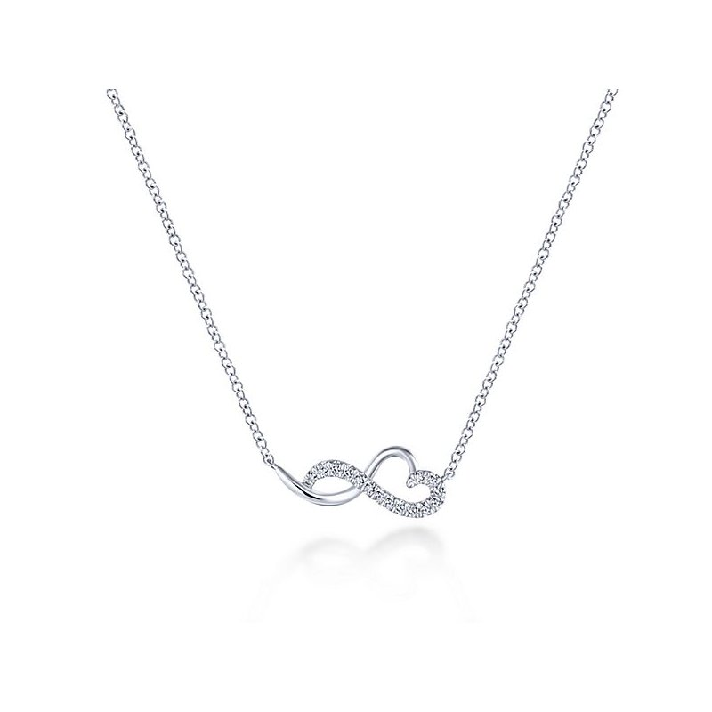 Signature Collection 14k White Gold Sleek Diamond Heart Necklace by Gabriel NY - Style #NK5736W