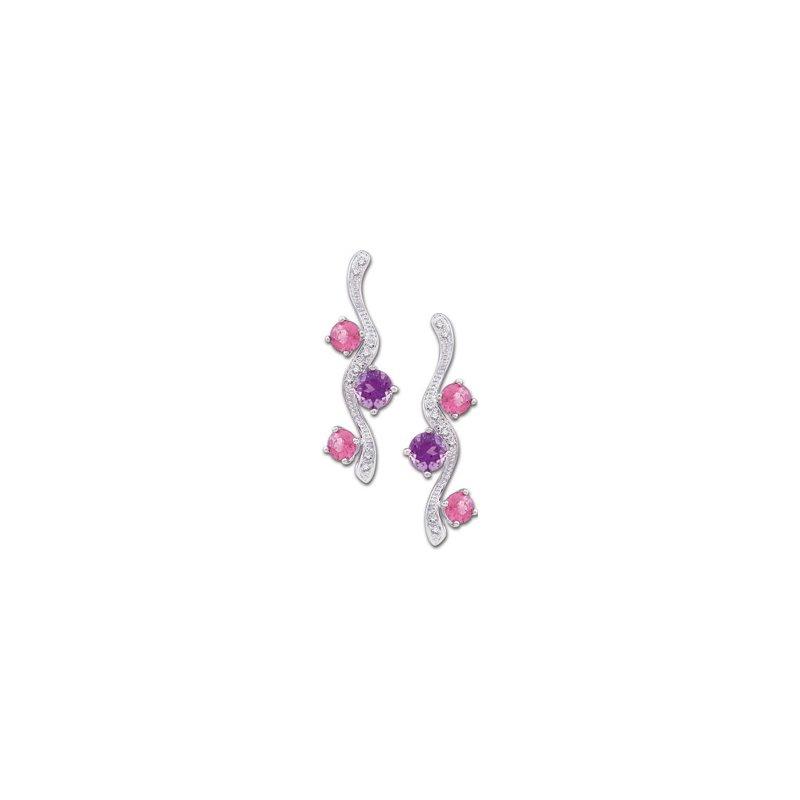 Signature Collection Genuine Multi Gem-stone & Diamond Earrings