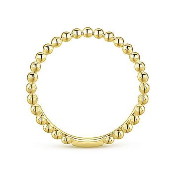 14k Yellow Gold Beaded Ring by Gabriel NY