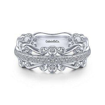 14k White Gold Scrolling Anniversary Ring by Gabriel NY
