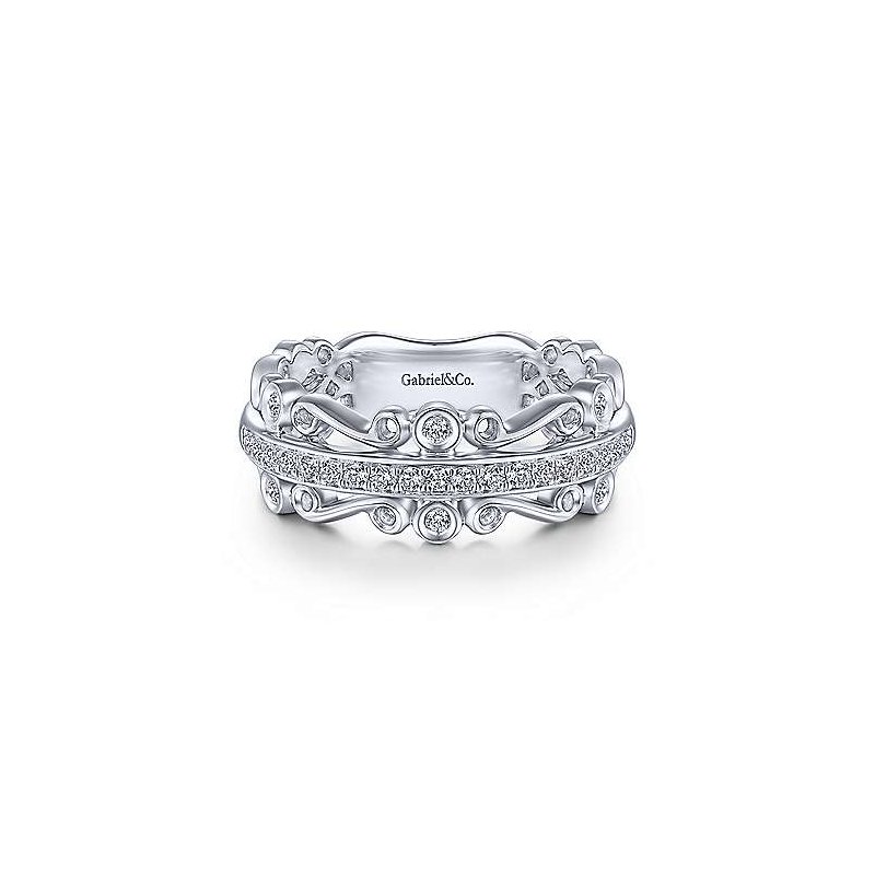 Gabriel NY 14k White Gold Scrolling Anniversary Ring by Gabriel NY