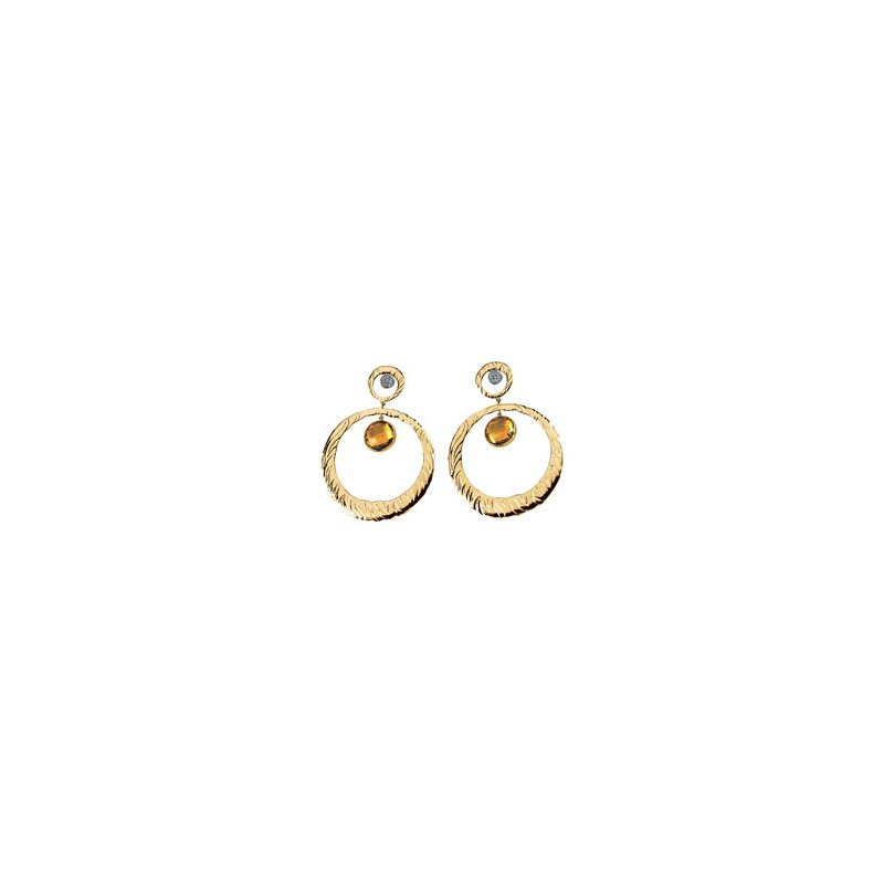 Signature Collection Genuine Checkerboard Citrine & Diamond Earrings