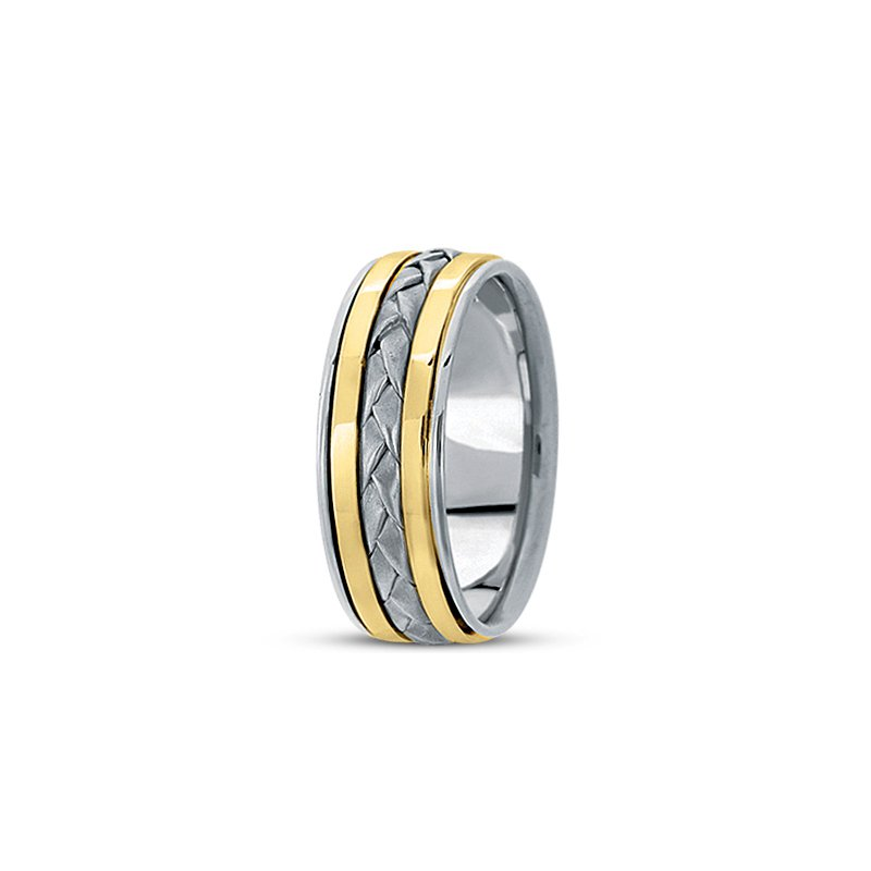 Unique Settings Unique Settings HM136 - 14k White Gold Handmade Handwoven 8mm Men's Wedding Band