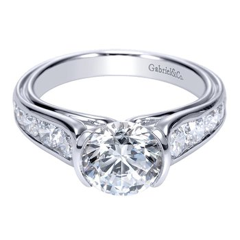 14k White Gold Half Bezel Engagement Ring by Gabriel NY