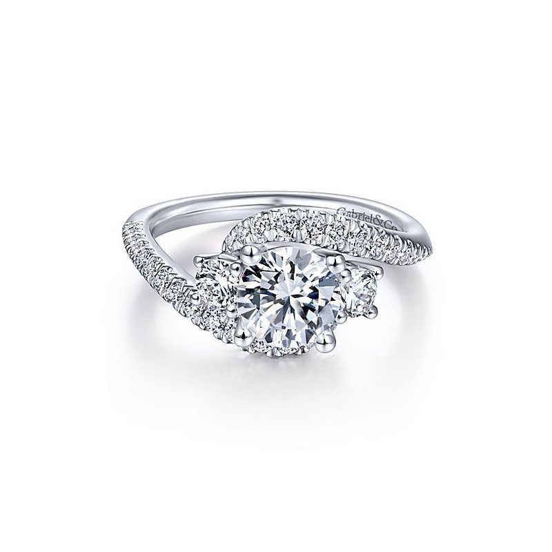 Gabriel NY 14k White Gold Bypass 3-Stone Diamond Engagement Ring by Gabriel NY