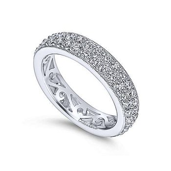 Vintage Style 14k White Gold Pavé Eternity Band Anniversary Ring by Gabriel NY