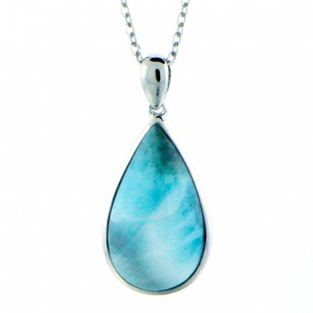 Sterling Silver Pear Shaped Pendant by Alamea with Larimar