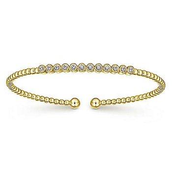 Signature Collection Bujukan 14k Yellow Gold Soft Bangle Bracelet with Diamonds