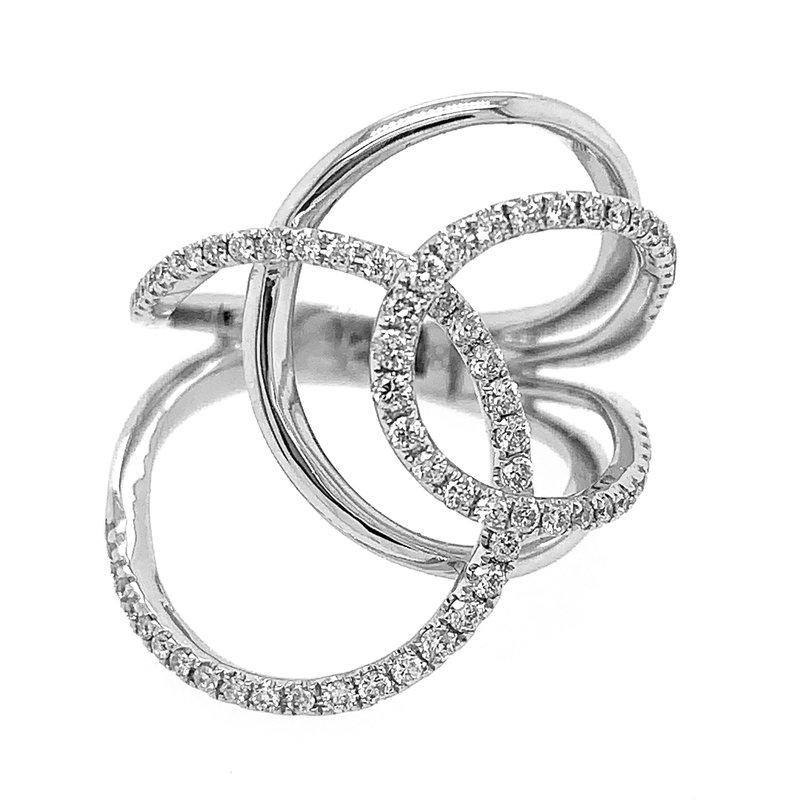 Signature Collection 14k White Gold Diamond Freeform Swirl Ring