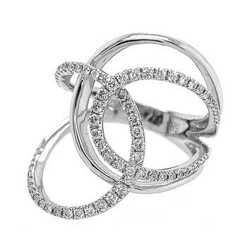 14k White Gold Diamond Freeform Swirl Ring