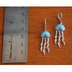 Kovel Sealife Sterling Silver Kyocera Lab Created Opal Jellyfish Earrings with moving parts.