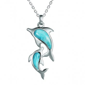 Alamea Sterling Silver Larimar Double Dolphin Pendant