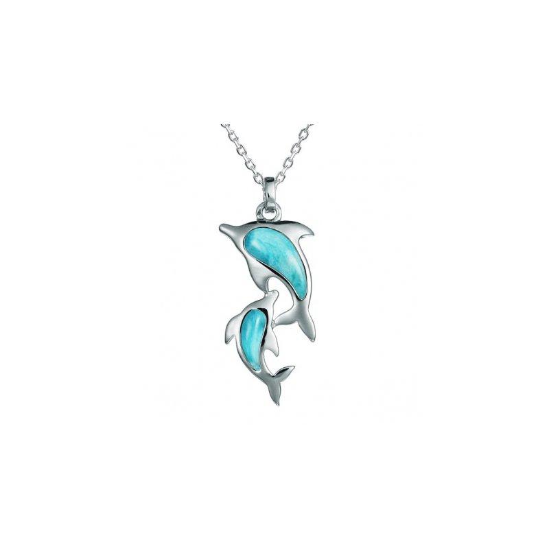 Alamea Larimar  Alamea Sterling Silver Larimar Double Dolphin Pendant