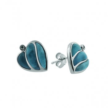 Sterling Silver Heart Earrings with Larimar