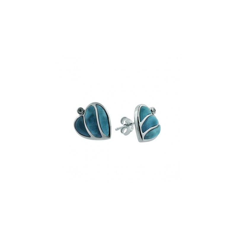 Alamea Larimar  Sterling Silver Heart Earrings with Larimar