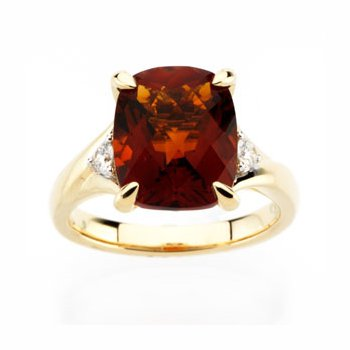 Genuine Checkerboard Madeira Citrine & Diamond Ring