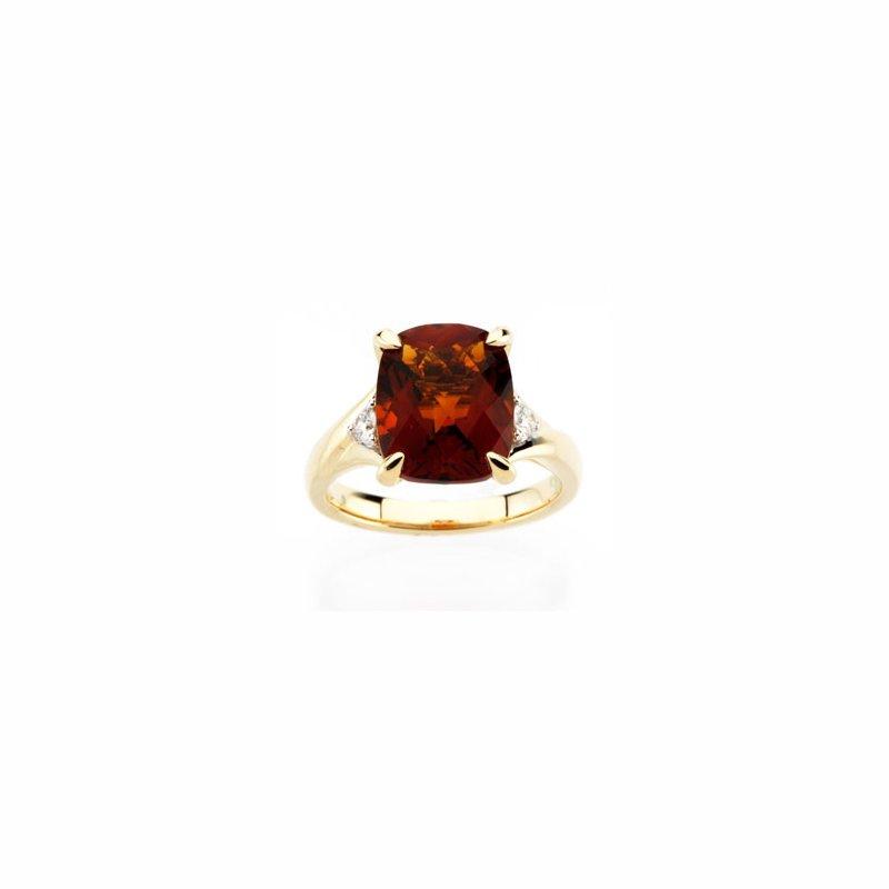 Signature Collection Genuine Checkerboard Madeira Citrine & Diamond Ring
